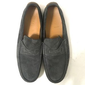 Gucci Mens Gray Suede Loafers